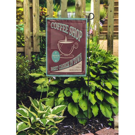 POGLIP Blue Americano Coffee Retro Best Choice in Town Brown Antique Garden Flag Decorative Flag House Banner 12x18 inch - image 2 of 2