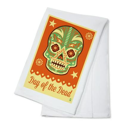 Day of the Dead - Sugar Skull Mask - Lantern Press Poster (100% Cotton Kitchen Towel)