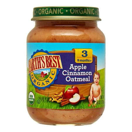 Earth's Best Organic Baby Food, Stage 3 Apple Cinnamon Oatmeal, 6 Oz