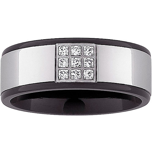 Men's 8mm CZ Two-Tone Band in Stainless Steel
