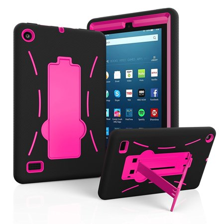 "Amazon Fire 7"" 2017 Case, EpicGadget(TM) 7th Generation Fire 7 Heavy Duty Hybrid Case Full Protection Cover with Kickstand For Fire 7 inch Display + Screen Protector and 1 Stylus (Black/Pink)"