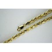 Authentic 10k Yellow Gold Hollow Diamond Cut Rope Chain 2mm-5mm