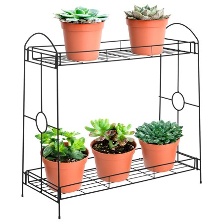 Print Stand (Best Choice Products 32in 2-Tier Indoor Outdoor Multi-Purpose Metal Flower Plant Pot Display Tray Shelf Stand - Black )