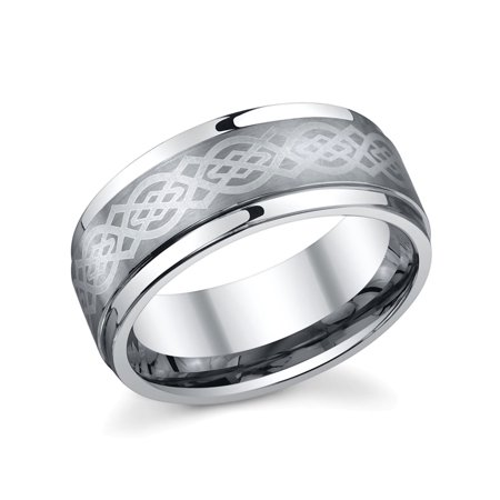 Men's Tungsten 8MM Celtic Knot Wedding Band - Mens -
