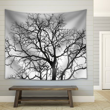 Wall26 Dead Tree Branch Black And White Fabric Wall Tapestry