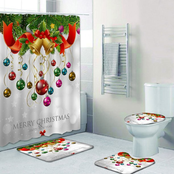 4 Pcs Christmas Shower Curtain Sets Non Slip Rugs Toilet Lid Cover Bath Mat And Shower Curtain With 12 Hooks For Christmas Bathroom Decorations Walmart Com Walmart Com