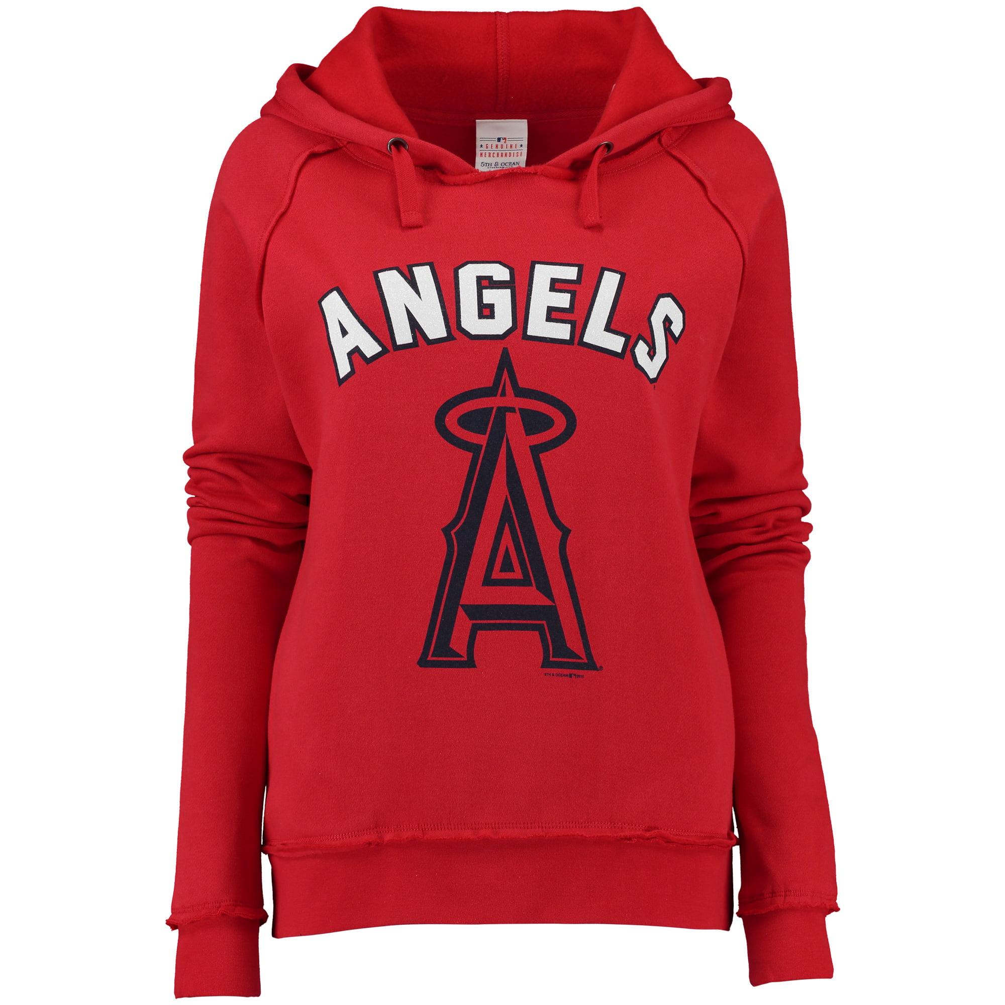 Los Angeles Angels 5th & Ocean by New Era Women's Hot Corner Pullover Hoodie - Red