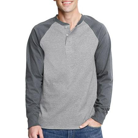 3ec02c6a Hanes - Men's Long Sleeve Colorblock Raglan Henley - Walmart.com