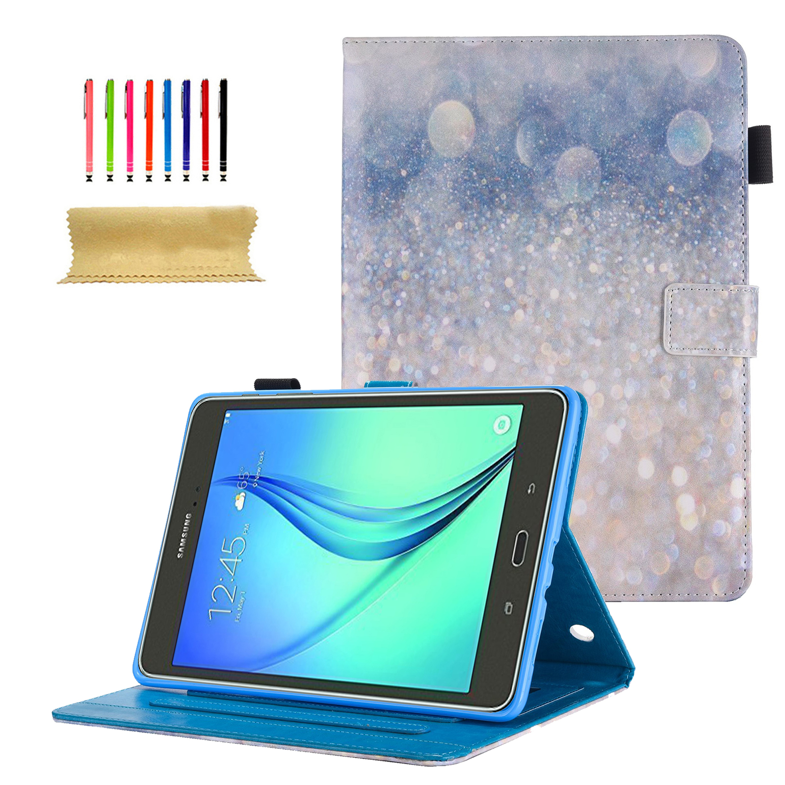 Galaxy Tab A 9.7 Case, Goodest PU Leather Folio Case Cover for Samsung Galaxy Tab A 9.7 Inch Tablet SM-T550 T555 P550 P555 with Auto Wake/Sleep & Card Slots, Multiple Viewing Angles, Sparkling Sand