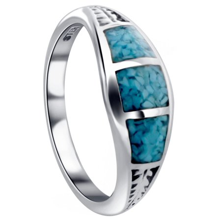 Gem Avenue 925 Sterling Silver Turquoise Gemstone Ring Southwestern (Sterling Silver Turquoise Stone Ring)