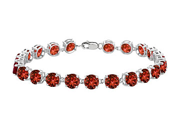 Sterling Silver Prong Set Round Garnet Bracelet with 12.00 CT TGW by Love Bright