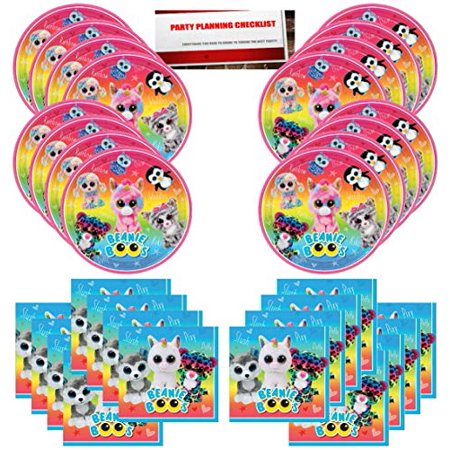 Beanie Boos Party Birthday Supplies Bundle Pack for 16 Guests (Plus Party Planning Checklist by Mikes Super Store)