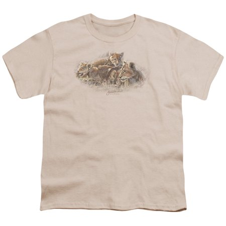 Wildlife Button (Wildlife Lion Cubs Big Boys Youth Shirt)