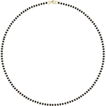 "14K Yellow Black Plastic Bead 18"" Necklace in 14k Yellow Gold"