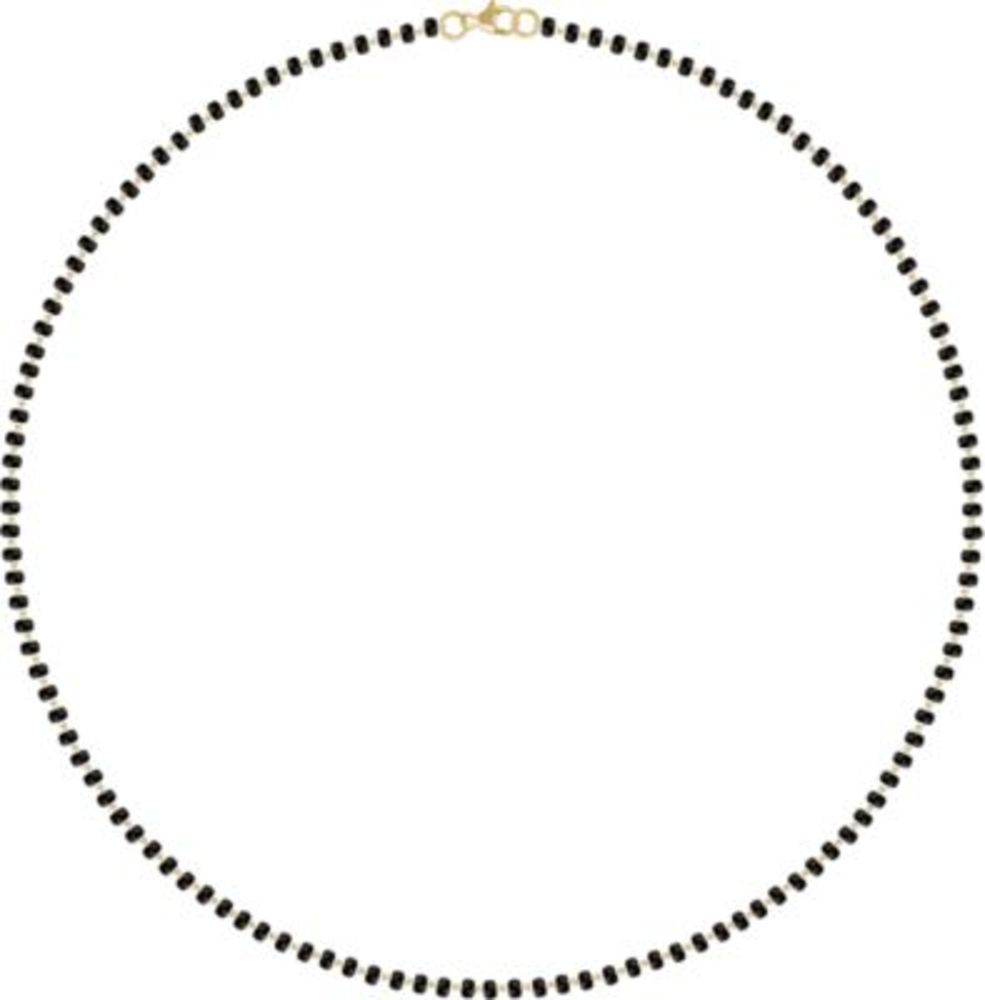 """14K Yellow Black Plastic Bead 18"""" Necklace in 14k Yellow Gold"""