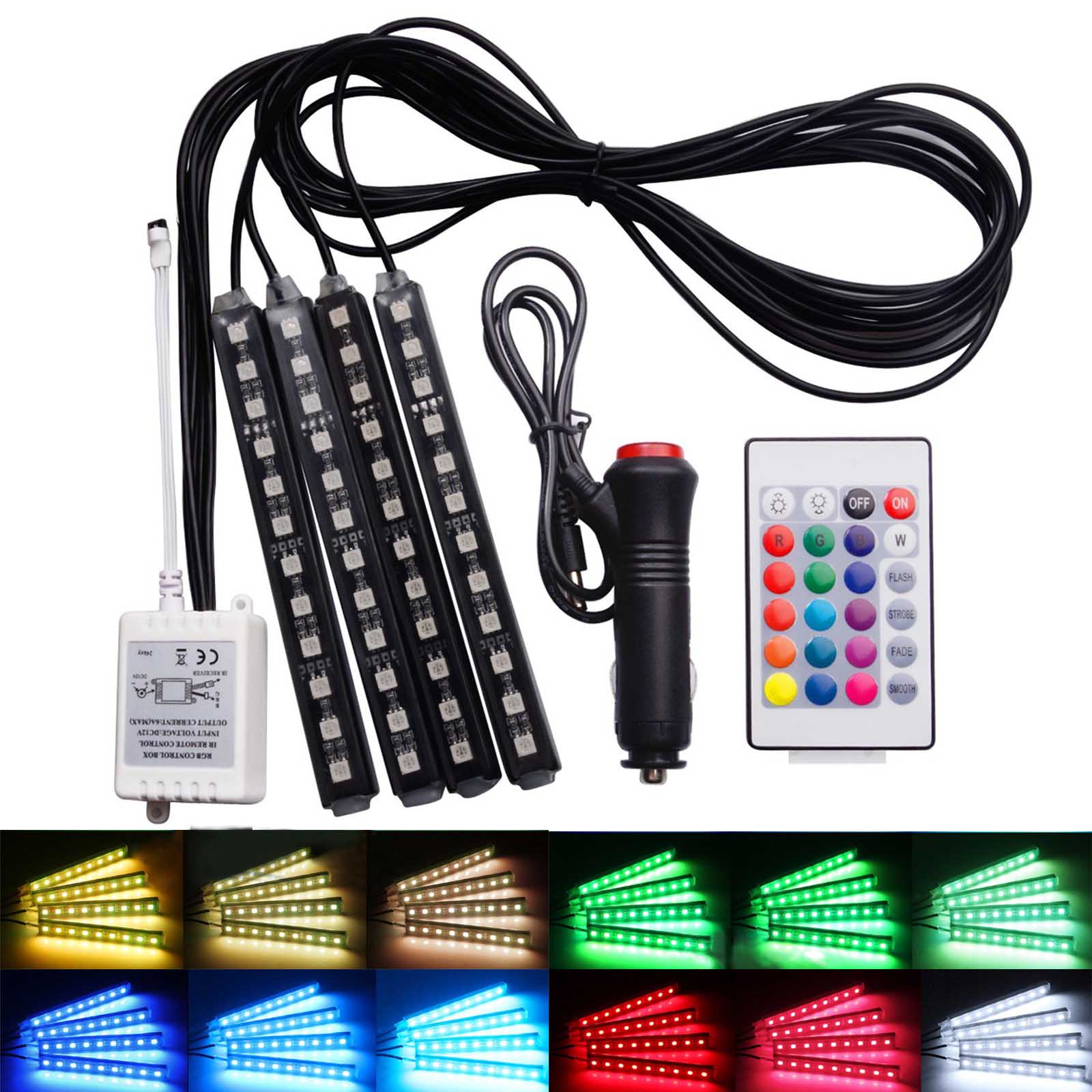 4Pcs 9LED RGB Remote Control Colorful Car Interior Decoration Atmosphere Light Strips