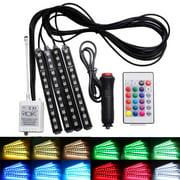 4Pcs 9LED RGB Remote Control Colorful Car Interior Decoration Atmosphere Light Strips