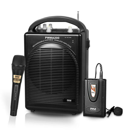 Pyle PWMA200 - Portable PA Speaker & Microphone System Kit | FM Stereo Radio (Includes Beltpack, Handheld, Headset & Lavalier Mics) ()
