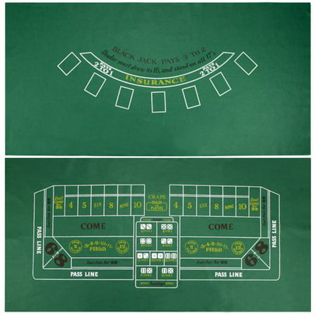 Brybelly Blackjack & Craps Green Casino Gaming Table Felt Layout, 36