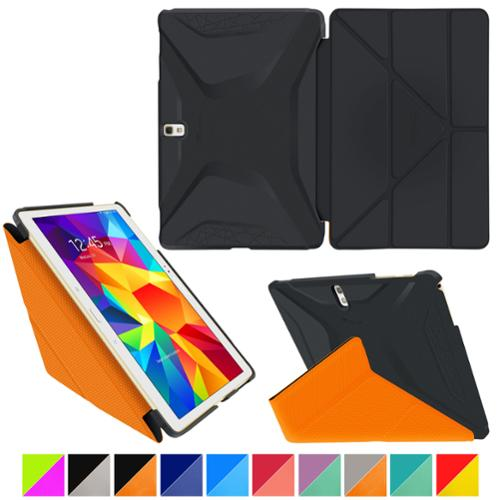 "rooCASE Samsung Galaxy Tab S 10.5 Case - Origami 3D [Granite Black / rooCASE Orange] Slim Shell 10.5-Inch 10.5"" Smart Cover with Landscape, Portrait,"