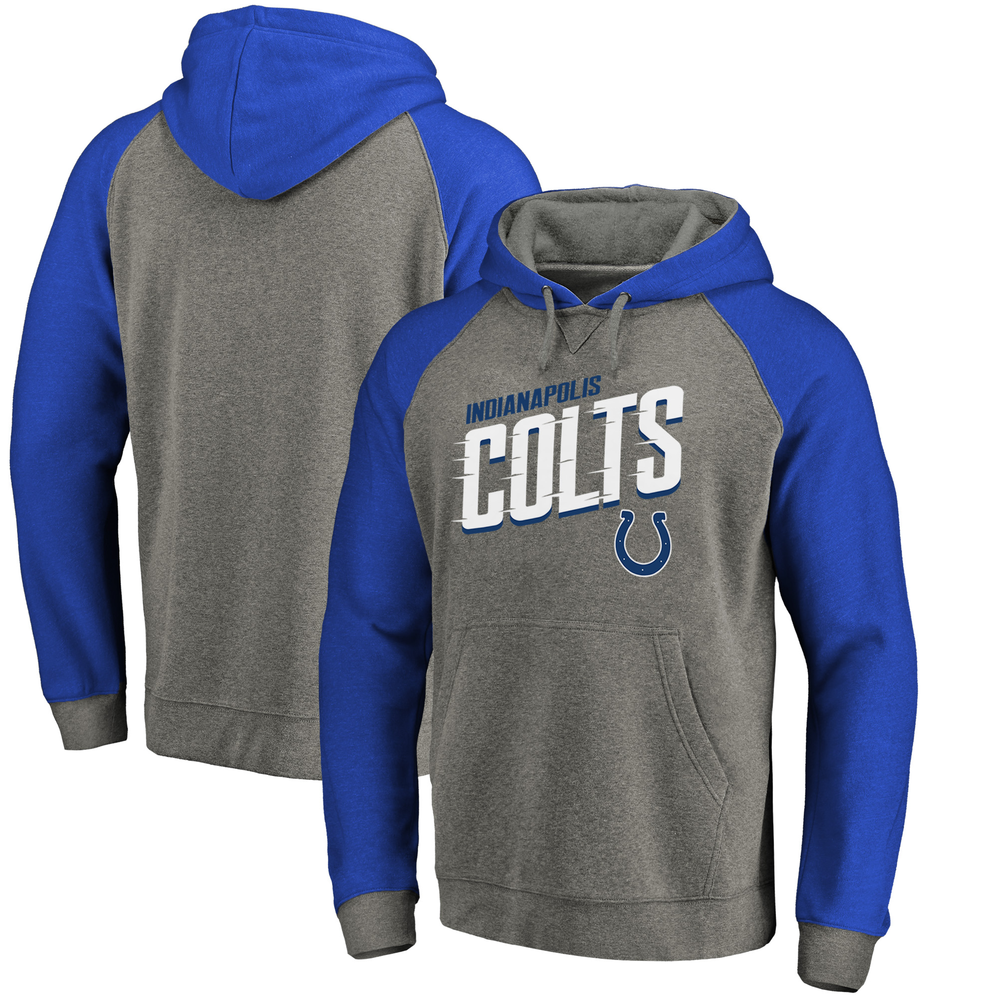 Indianapolis Colts NFL Pro Line by Fanatics Branded Big & Tall Slant Strike Tri-Blend Raglan Pullover Hoodie - Heathered Gray