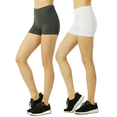 Women & Plus Soft Cotton Stretch Workout Running Mini Booty Shorts with Wide Wastband (12