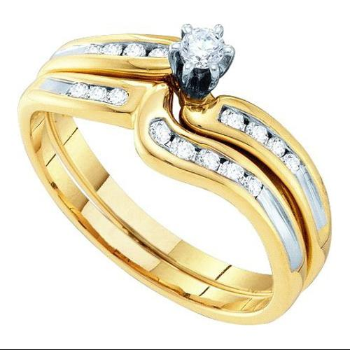 0.27Ctw Diamond Bridal Set Womens Fixed Ring Size - 7