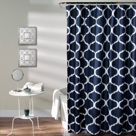Geo Shower Curtain Navy - Lush Décor