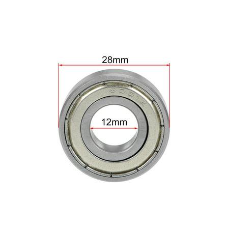 6001ZZ Deep Groove Ball Bearing 12x28x8mm Double Shielded Chrome Bearings 10pcs - image 2 of 4