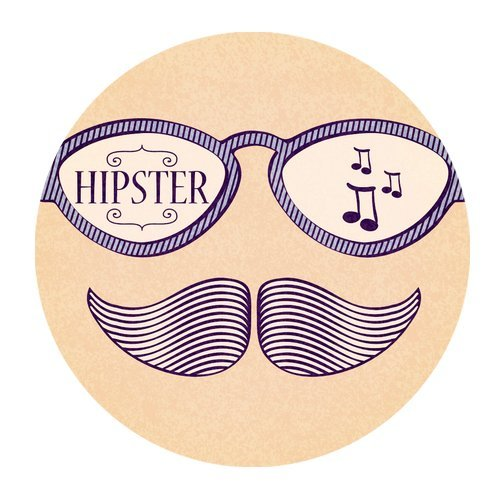 MKHERT Hipster Retro Life Style with Mustache Round Mousepad Mat For Mouse Mice Size 7.87x7.87 inches