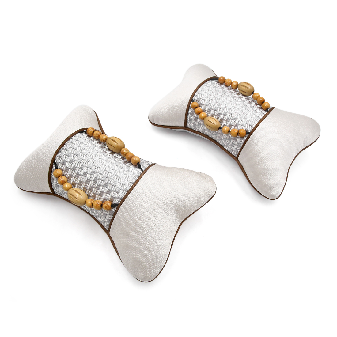 2pcs Gray Auto Car Wooden Beads Massage Head Neck Seat Cushion Pad Pillow