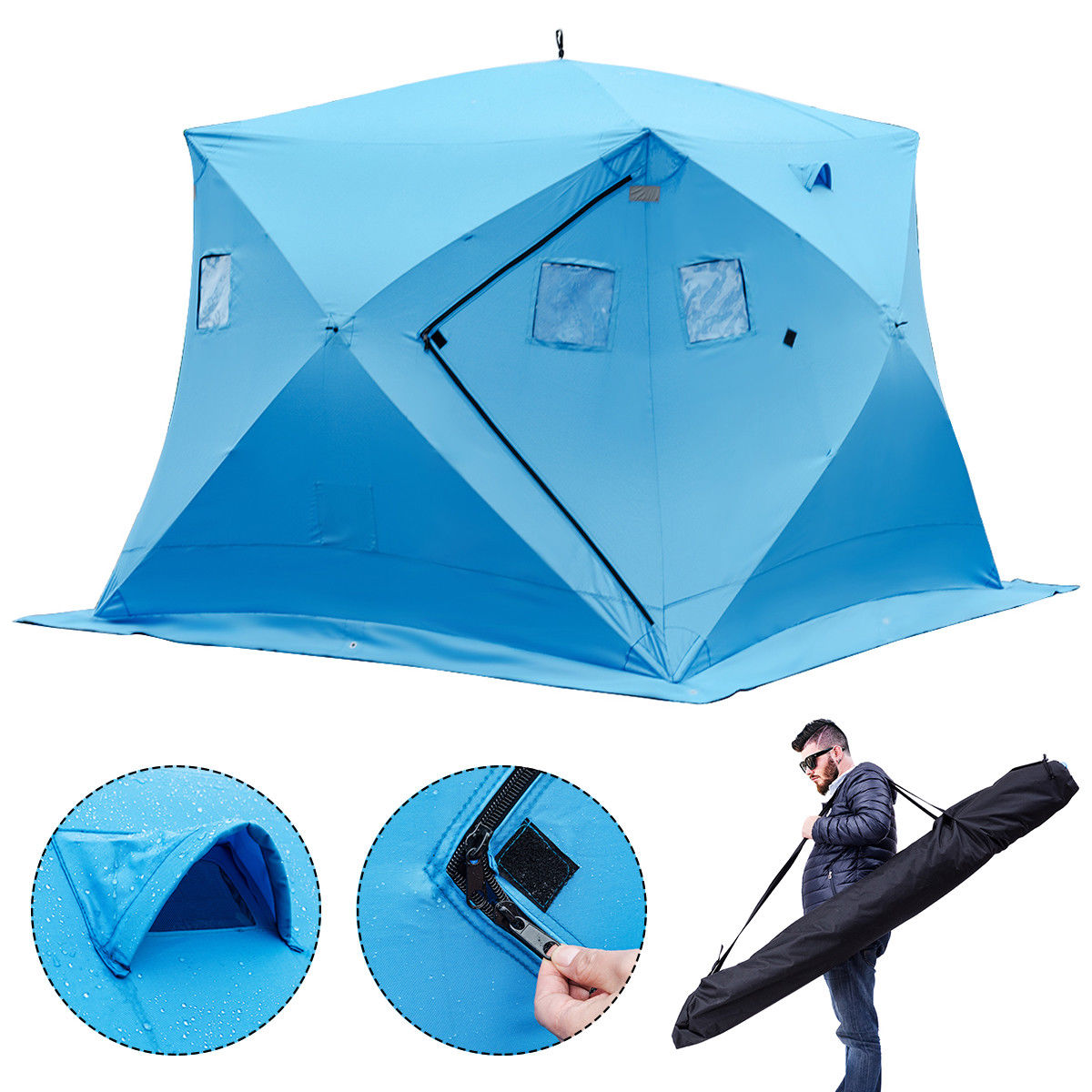 Gymax Waterproof Pop-up 4-person Ice Shelter Fishing Tent Shanty w Window Carrying Bag by Ice Shantys