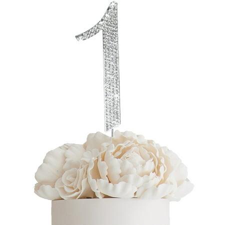 "BalsaCircle Silver Cake Topper - 4.5"" tall Rhinestone Personalized Wedding Party Monogram Dessert Decorations"