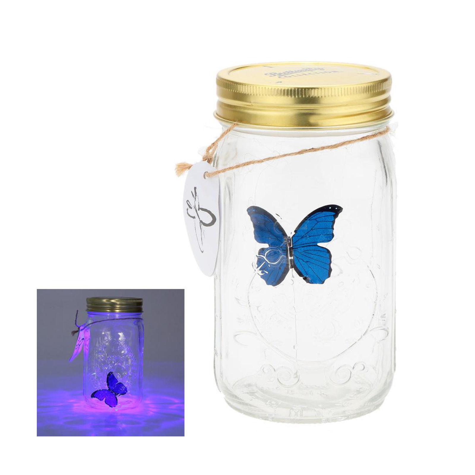 LED Flying Butterfly Bottle Glass Jar Night Light Romantic Gifts