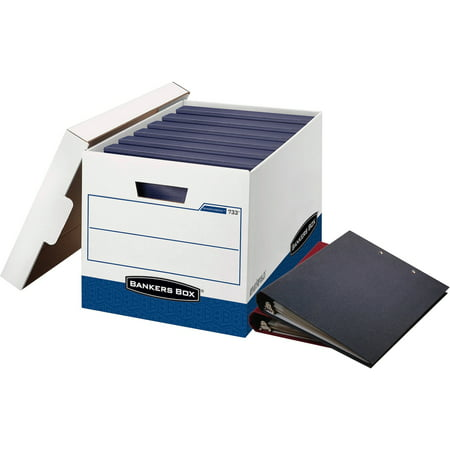 Bankers Box Side Tab Storage - Bankers Box, FEL0073301, Binder Storage Box, White,Blue