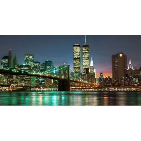 The Brooklyn Bridge and Twin Towers at Night Poster Print by Barry Mancini
