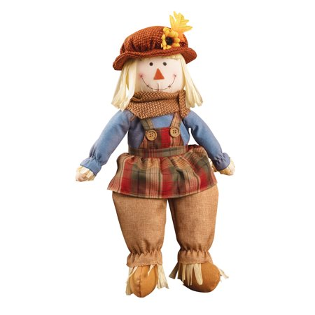 Festive Fall Scarecrow Sitter Plush Dolls, Indoor Home Decoration, (Girl Shelf Sitters)