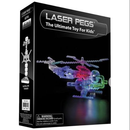 Laser Pegs Lighted Helicopter 6-in-1 Construction Kit