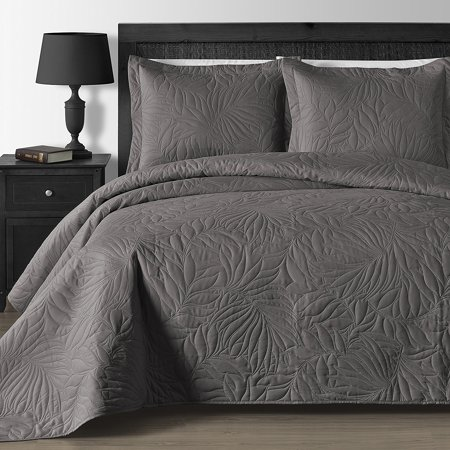 Oversized and Lightweight Leafage 3-piece Bedspread Coverlet