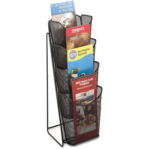 Safco Onyx Mesh Counter Display, Four Compartments, 5-1/4w x 7d x 16-1/2h, Black