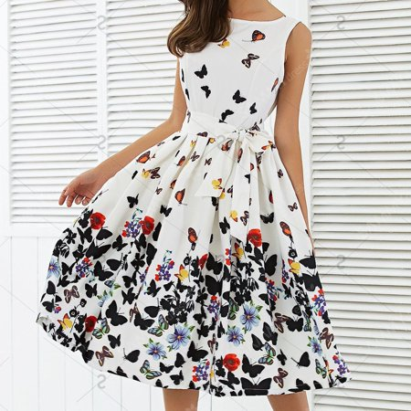 Women's Cap Sleeve Vintage Style 1950s Rockabilly Cocktail Party Swing Dresses