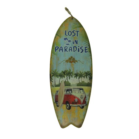 Lost in Paradise Vintage Surfer Bus Surfboard Wall Hanging (Surfboard Wall Hanging)