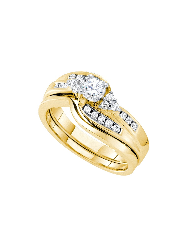 14k Yellow Gold Round Natural Diamond .20 Carat Solitaire Womens Wedding Bridal Ring Set (.50 cttw.) size- 10.5 by