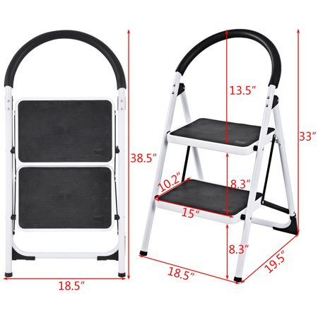 Costway 2 Step Ladder Folding Stool Heavy Duty Industrial