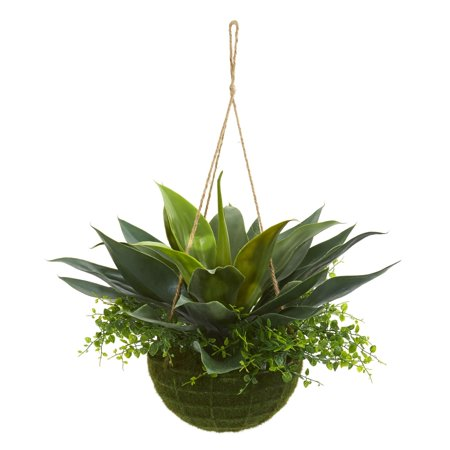 Nearly Natural  Artificial Agave and Maiden Hair Indoor/Outdoor Plant in Hanging Basket ()
