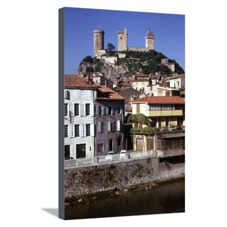 French Chateau House (Chateau de Foix and old houses, Foix, France, c20th century Stretched Canvas Print Wall Art By CM Dixon)