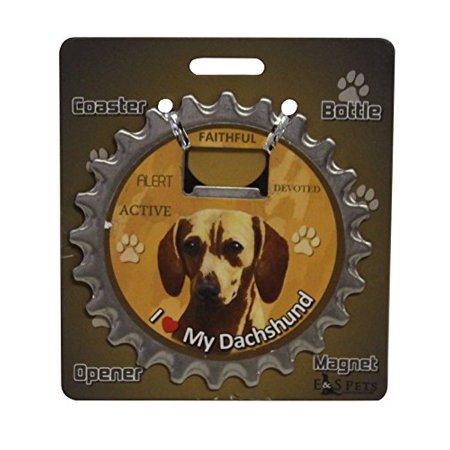 """I Love My Dog"" 3 in 1 Coaster, Bottle Opener and Magnet (Red Dachshund)"