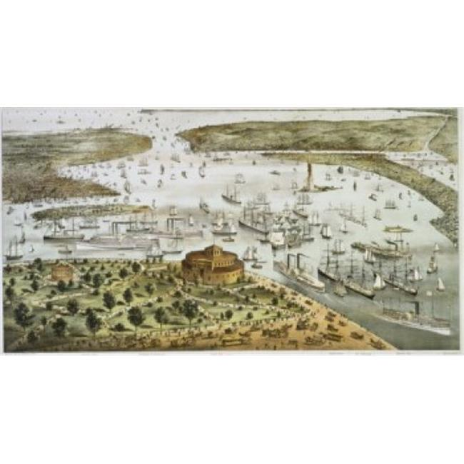 Posterazzi SAL9001273 The Port of New York Birds Eye View of the Battery Looking South Currier & Ives a 1857-1907 American Color Poster Print - 18 x 24 in. - image 1 of 1