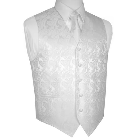 Men's Formal, Wedding, Prom, Tuxedo Vest, Tie & Hankie set in White Paisley (Red White And Blue Clothing Ideas)