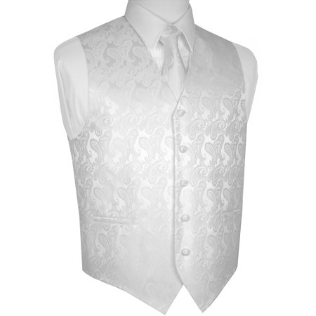 Men's Formal, Wedding, Prom, Tuxedo Vest, Tie & Hankie set in White Paisley